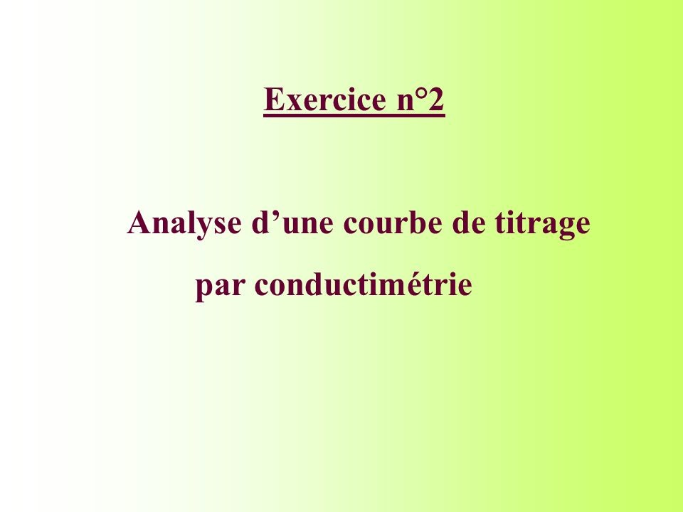 Analyse d'une courbe de titrage par conductimétrie