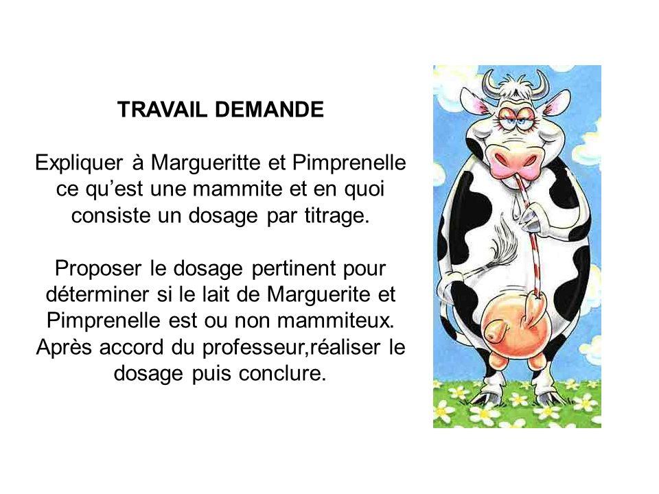 TRAVAIL DEMANDE Expliquer à Margueritte et Pimprenelle ce qu'est une mammite et en quoi consiste un dosage par titrage.