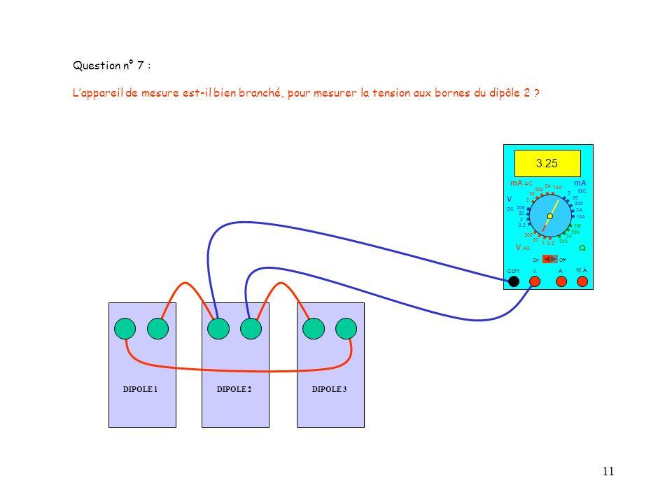 Question n° 7 : L'appareil de mesure est-il bien branché, pour mesurer la tension aux bornes du dipôle 2