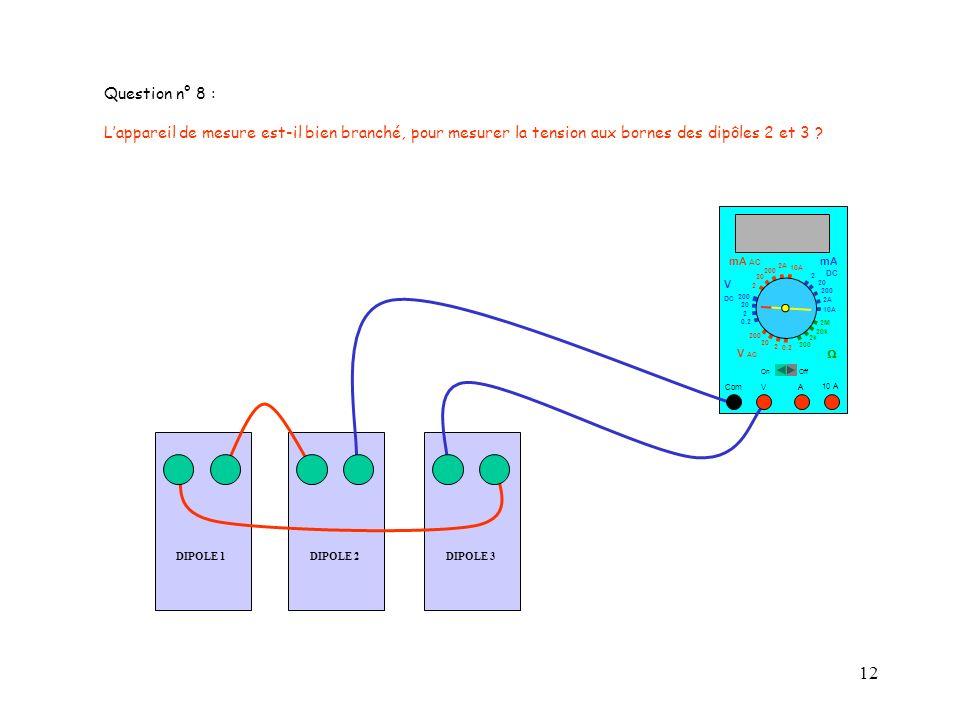 Question n° 8 : L'appareil de mesure est-il bien branché, pour mesurer la tension aux bornes des dipôles 2 et 3
