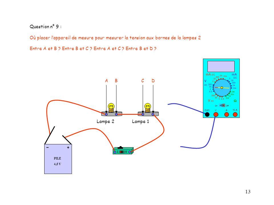 Question n° 9 : Où placer l'appareil de mesure pour mesurer la tension aux bornes de la lampes 2.