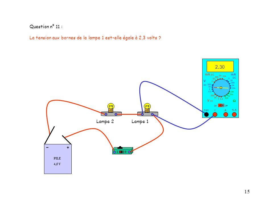 Question n° 11 : La tension aux bornes de la lampe 1 est-elle égale à 2,3 volts 2.30. mA AC. mA.
