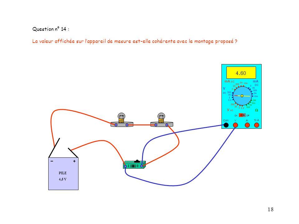 Question n° 14 : La valeur affichée sur l'appareil de mesure est-elle cohérente avec le montage proposé