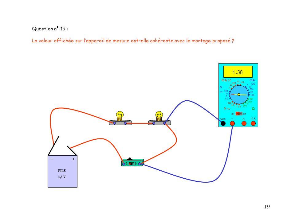 Question n° 15 : La valeur affichée sur l'appareil de mesure est-elle cohérente avec le montage proposé