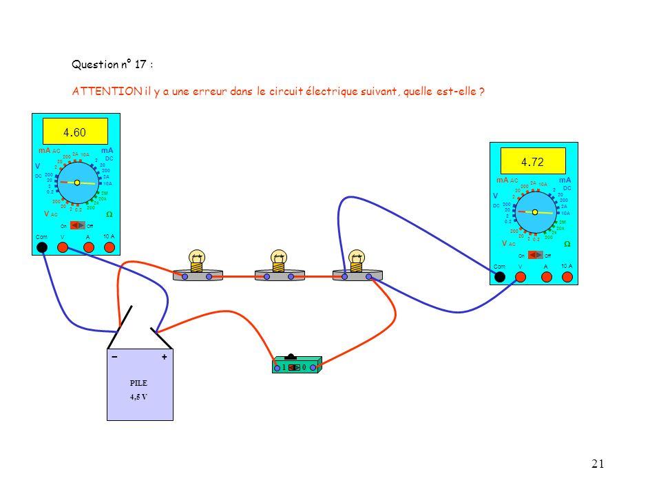 Question n° 17 : ATTENTION il y a une erreur dans le circuit électrique suivant, quelle est-elle 4.60.
