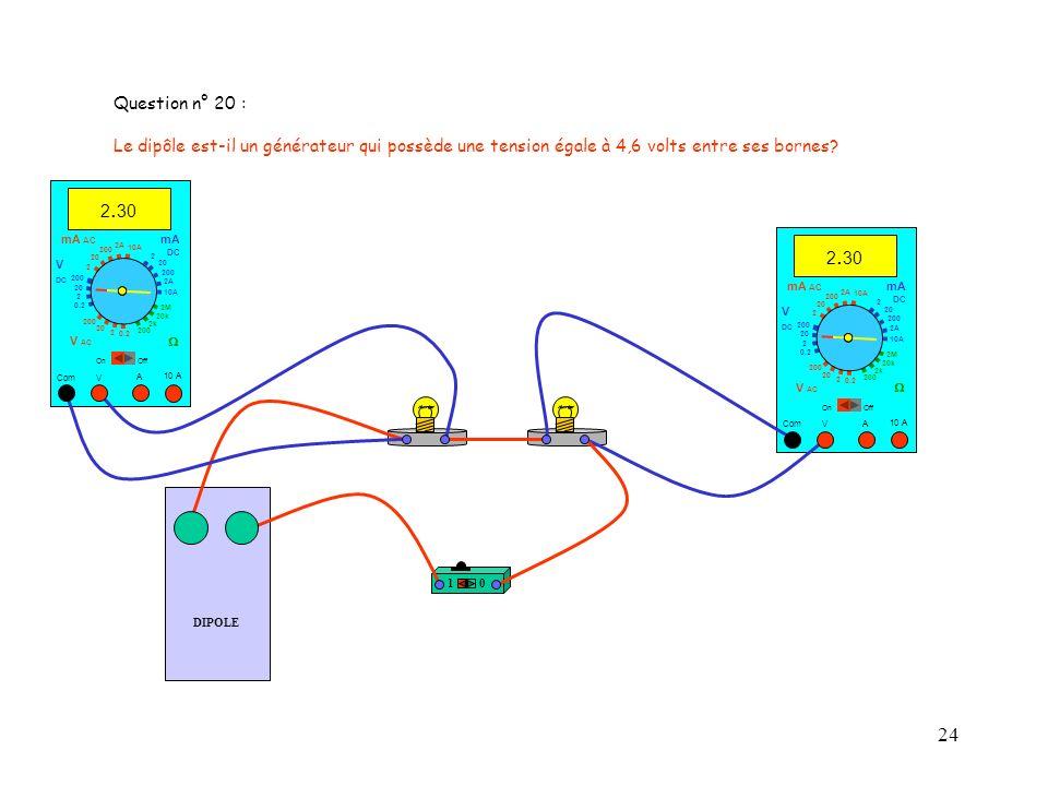 Question n° 20 : Le dipôle est-il un générateur qui possède une tension égale à 4,6 volts entre ses bornes