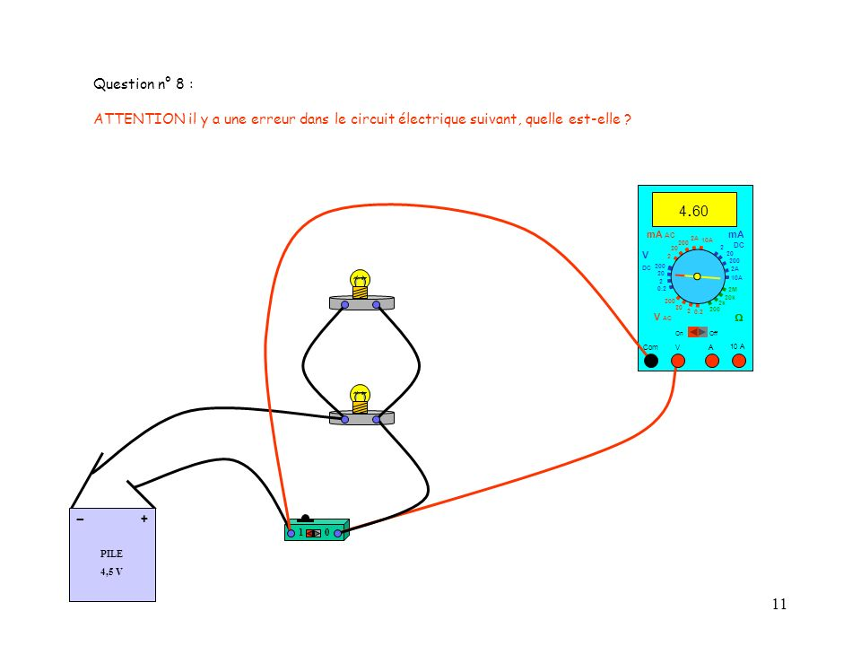 Question n° 8 : ATTENTION il y a une erreur dans le circuit électrique suivant, quelle est-elle 4.60.