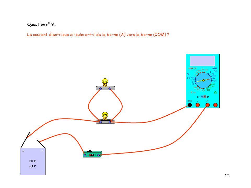 Question n° 9 : Le courant électrique circulera-t-il de la borne (A) vers la borne (COM) mA AC. mA.
