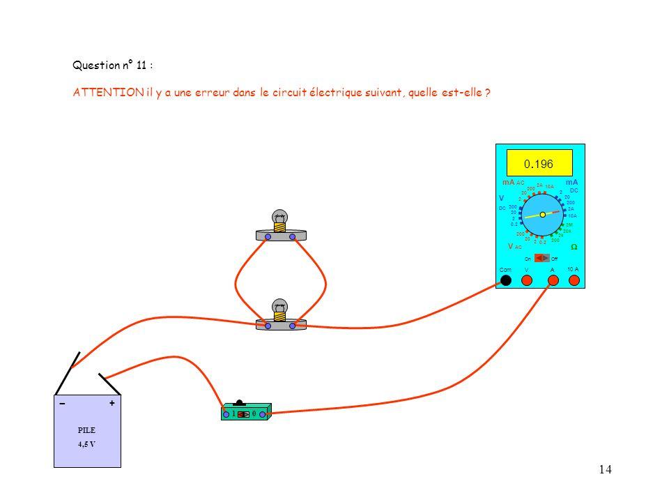 Question n° 11 : ATTENTION il y a une erreur dans le circuit électrique suivant, quelle est-elle 0.196.