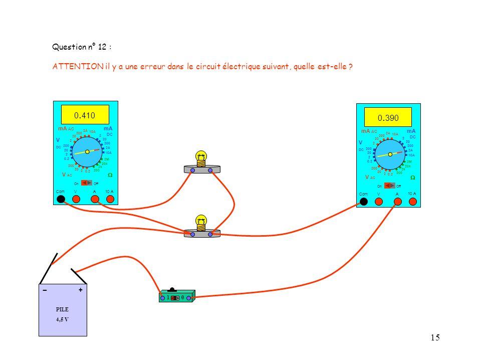 Question n° 12 : ATTENTION il y a une erreur dans le circuit électrique suivant, quelle est-elle 0.410.