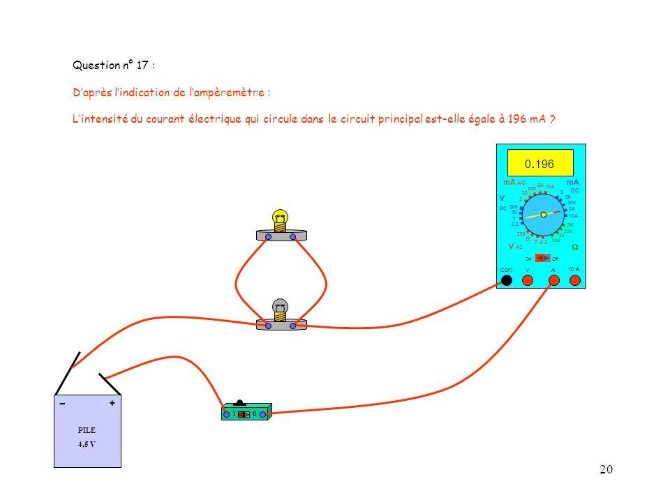 - Question n° 17 : D'après l'indication de l'ampèremètre :