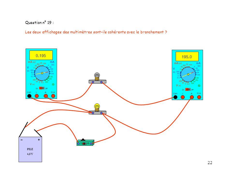 Question n° 19 : Les deux affichages des multimètres sont-ils cohérents avec le branchement 0.195.