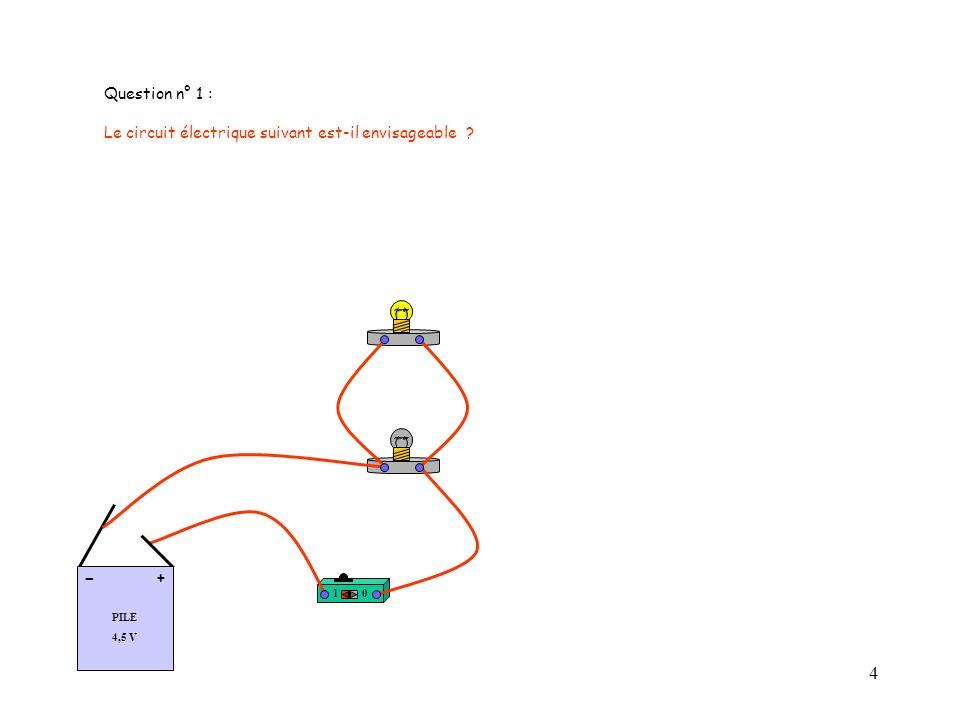 - Question n° 1 : Le circuit électrique suivant est-il envisageable