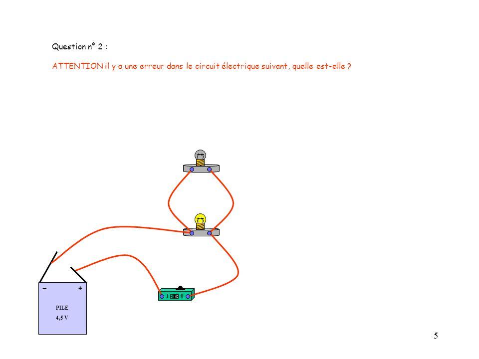 Question n° 2 : ATTENTION il y a une erreur dans le circuit électrique suivant, quelle est-elle PILE.