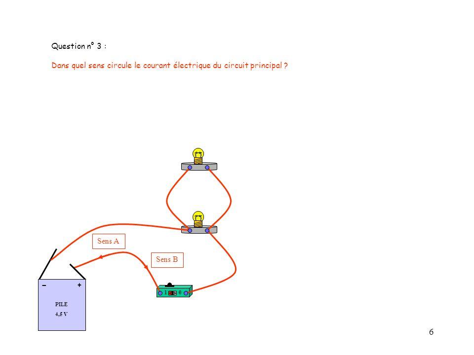 Question n° 3 : Dans quel sens circule le courant électrique du circuit principal 1. PILE. 4,5 V.
