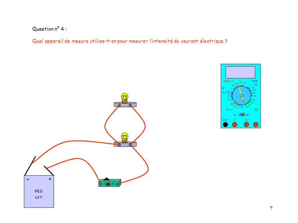 Question n° 4 : Quel appareil de mesure utilise-t-on pour mesurer l'intensité du courant électrique