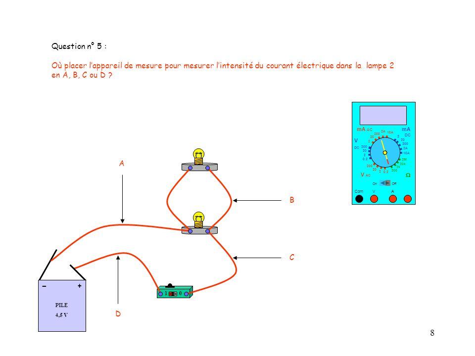 Question n° 5 : Où placer l'appareil de mesure pour mesurer l'intensité du courant électrique dans la lampe 2.