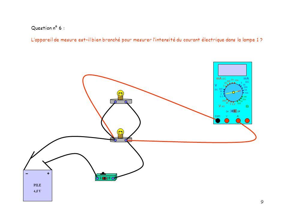 Question n° 6 : L'appareil de mesure est-il bien branché pour mesurer l'intensité du courant électrique dans la lampe 1
