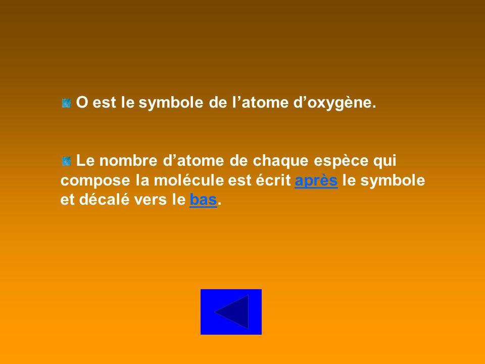 O est le symbole de l'atome d'oxygène.