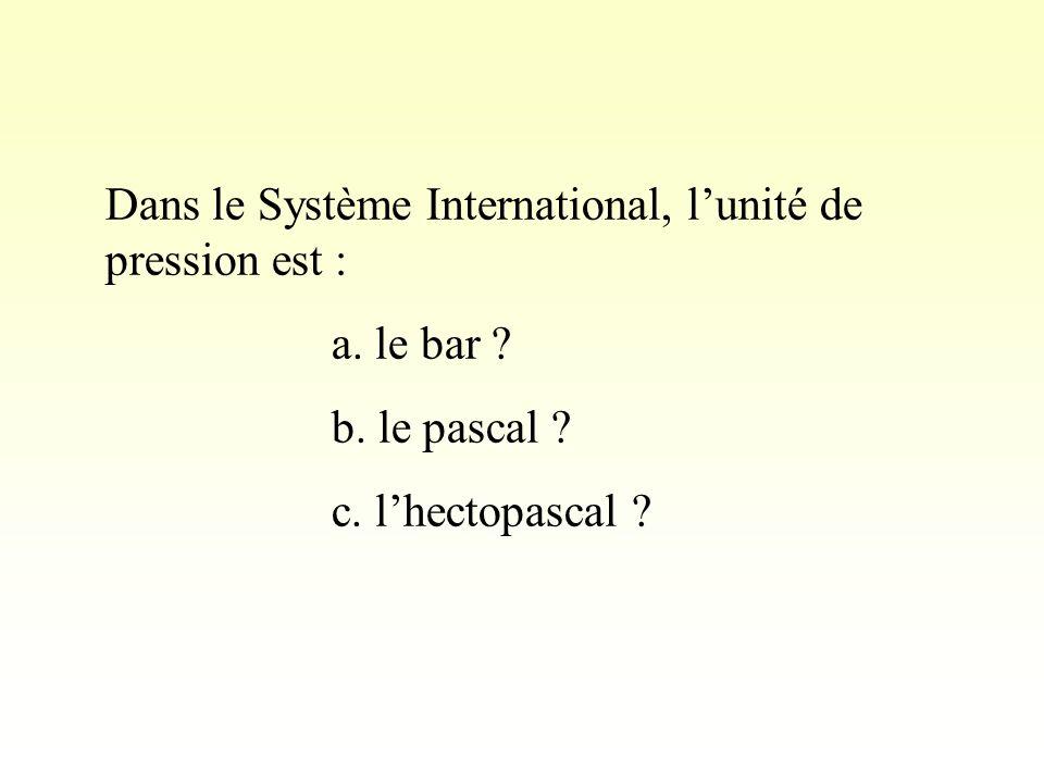 Dans le Système International, l'unité de pression est :