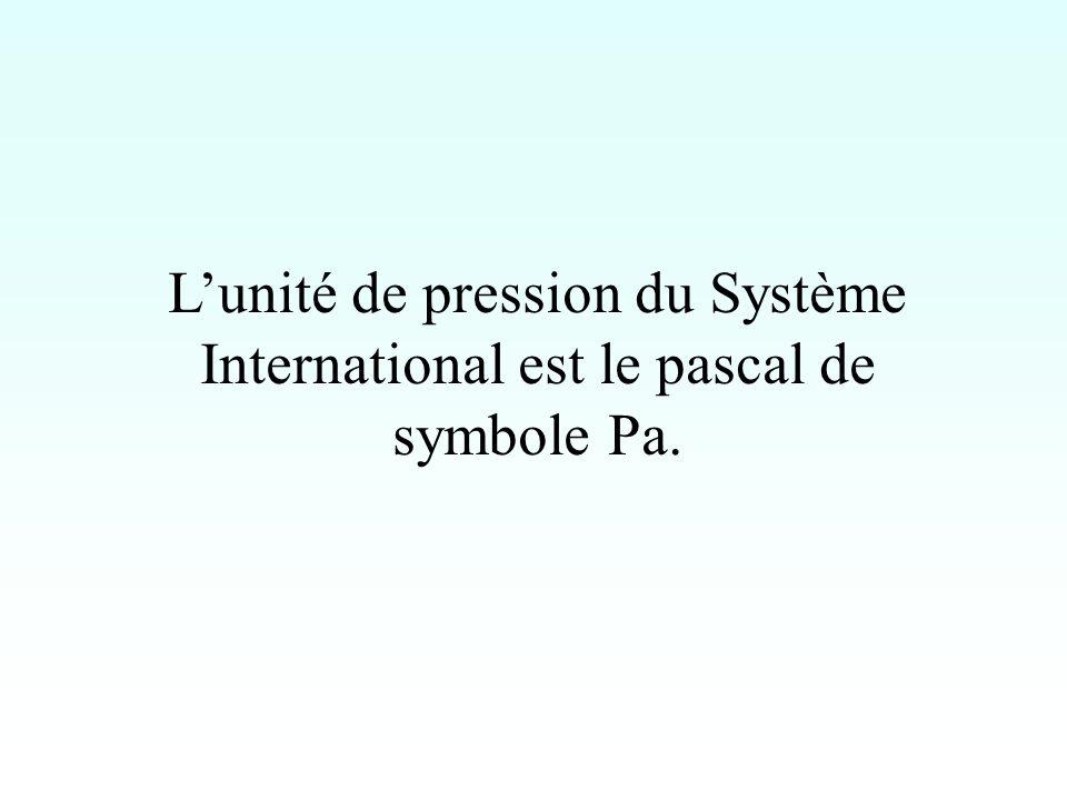 L'unité de pression du Système International est le pascal de symbole Pa.