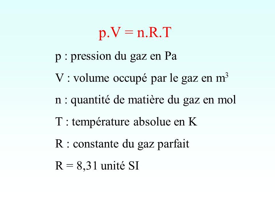 p.V = n.R.T p : pression du gaz en Pa