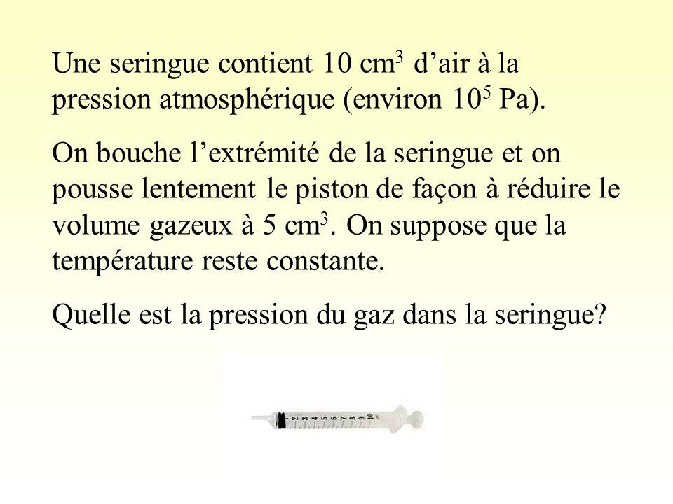Une seringue contient 10 cm3 d'air à la pression atmosphérique (environ 105 Pa).