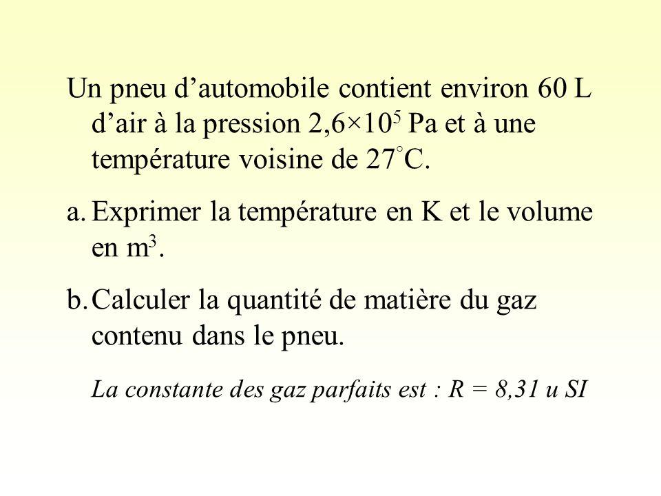 Un pneu d'automobile contient environ 60 L d'air à la pression 2,6×105 Pa et à une température voisine de 27°C.