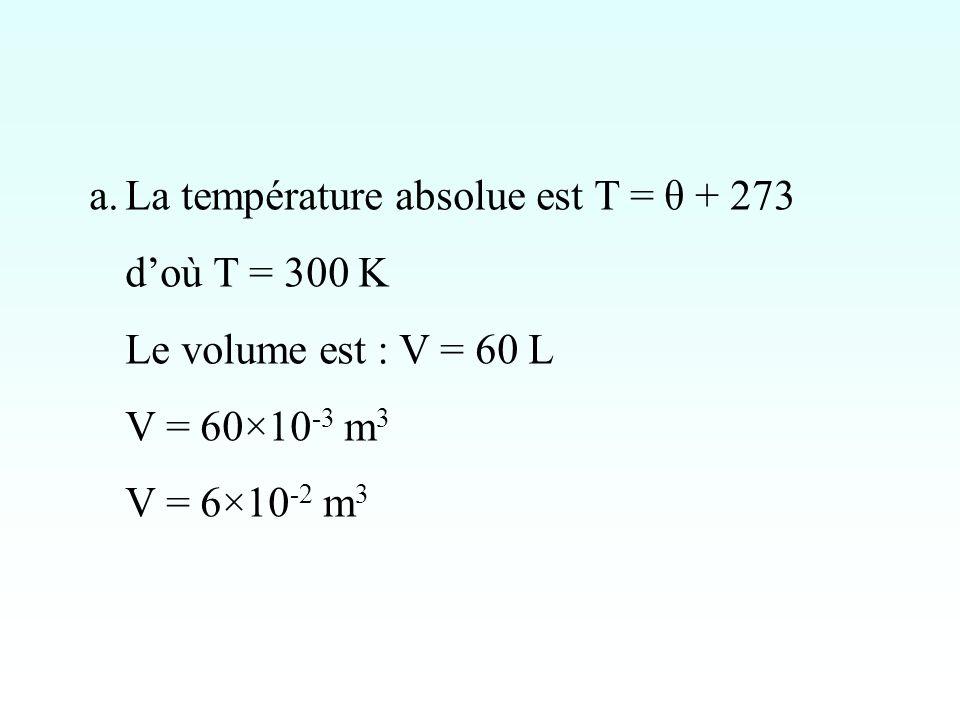 La température absolue est T = θ + 273