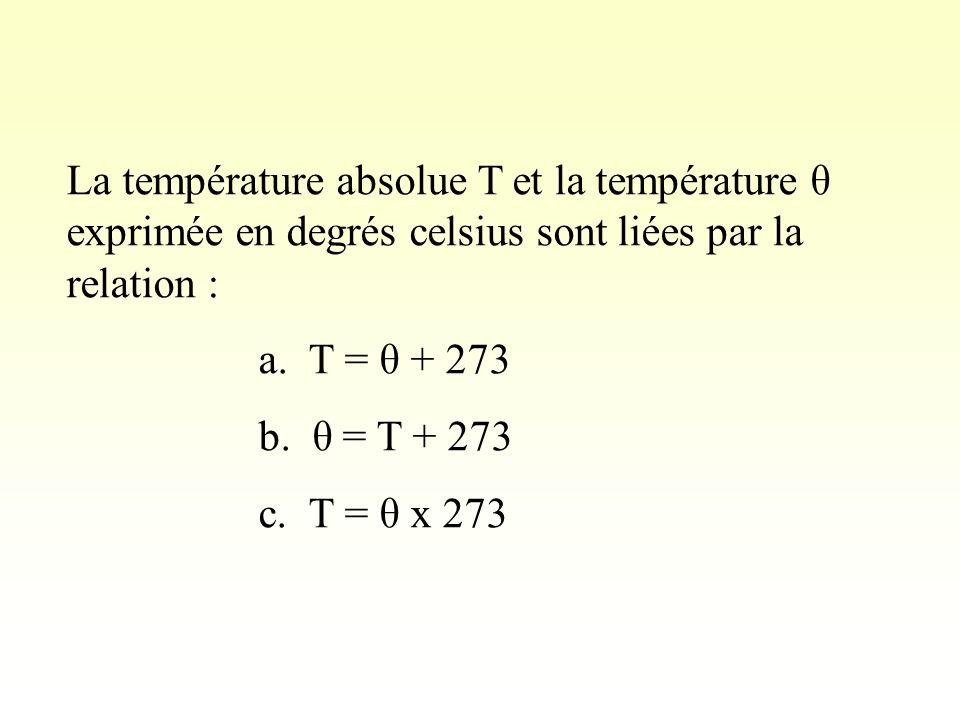 La température absolue T et la température θ exprimée en degrés celsius sont liées par la relation :