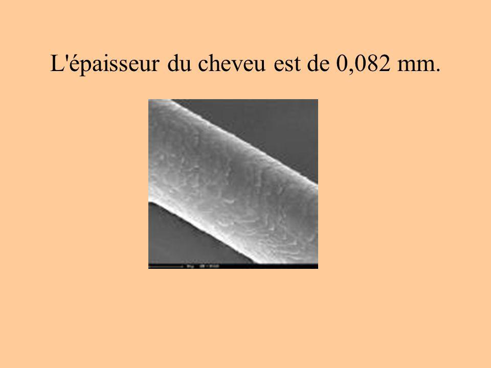 L épaisseur du cheveu est de 0,082 mm.