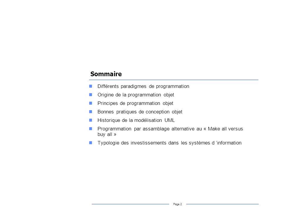 Sommaire Différents paradigmes de programmation