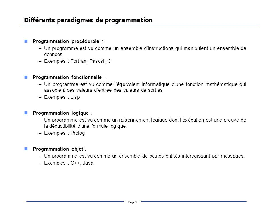 Différents paradigmes de programmation