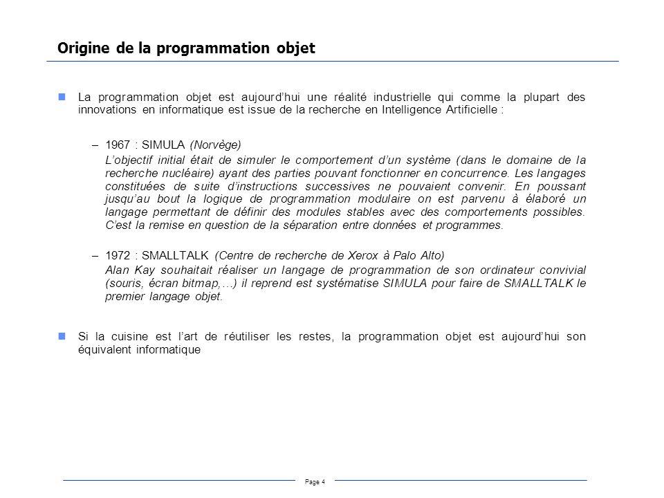 Origine de la programmation objet