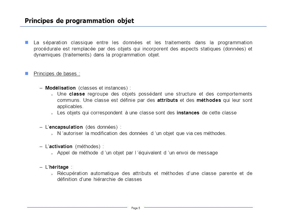 Principes de programmation objet