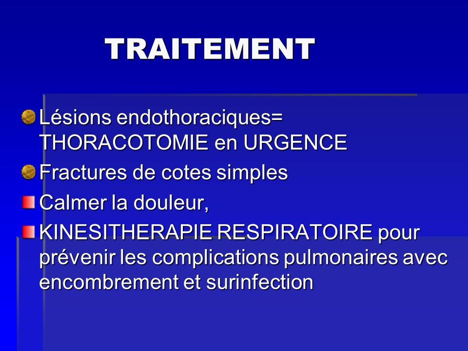 TRAITEMENT Lésions endothoraciques= THORACOTOMIE en URGENCE