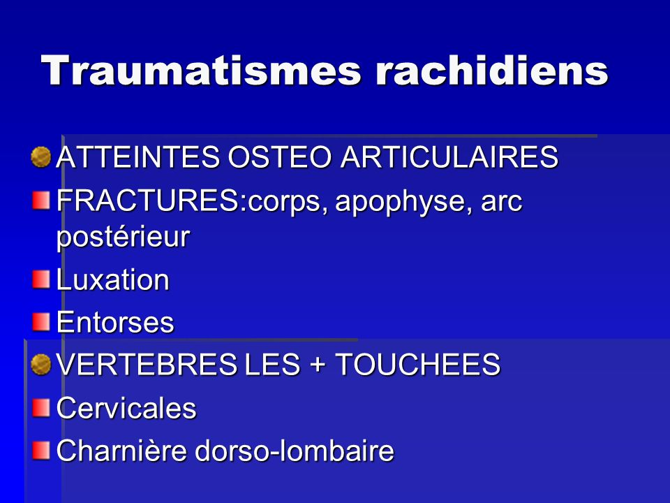 Traumatismes rachidiens
