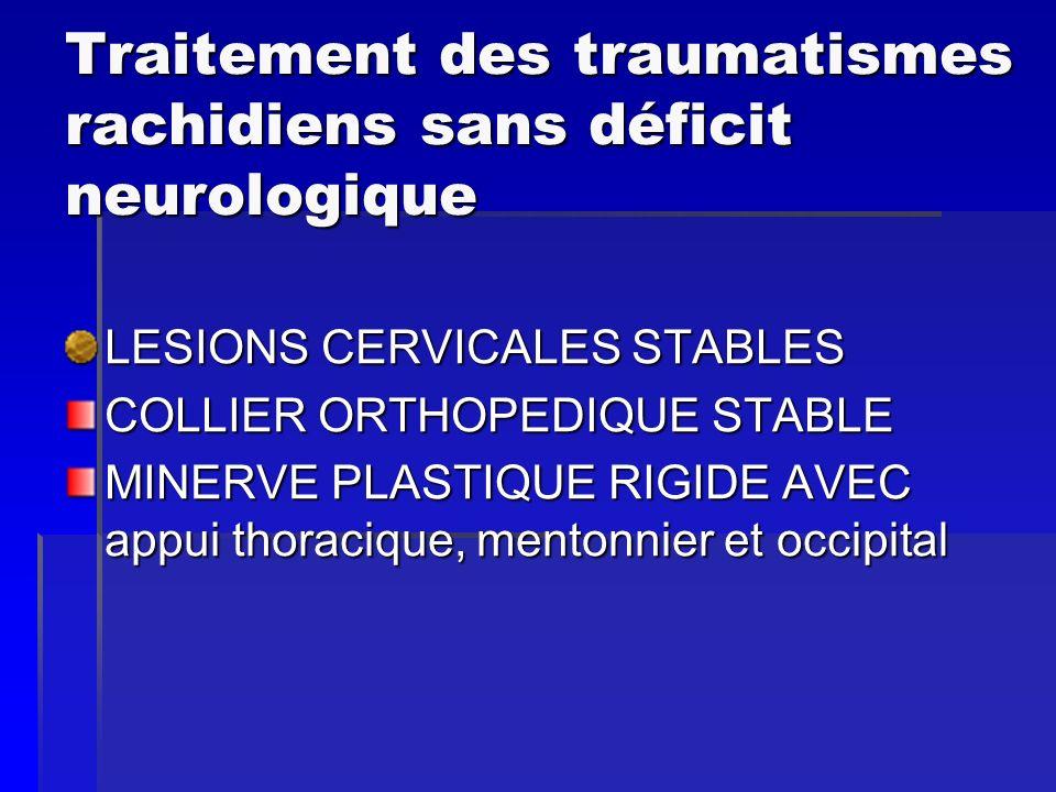 Traitement des traumatismes rachidiens sans déficit neurologique