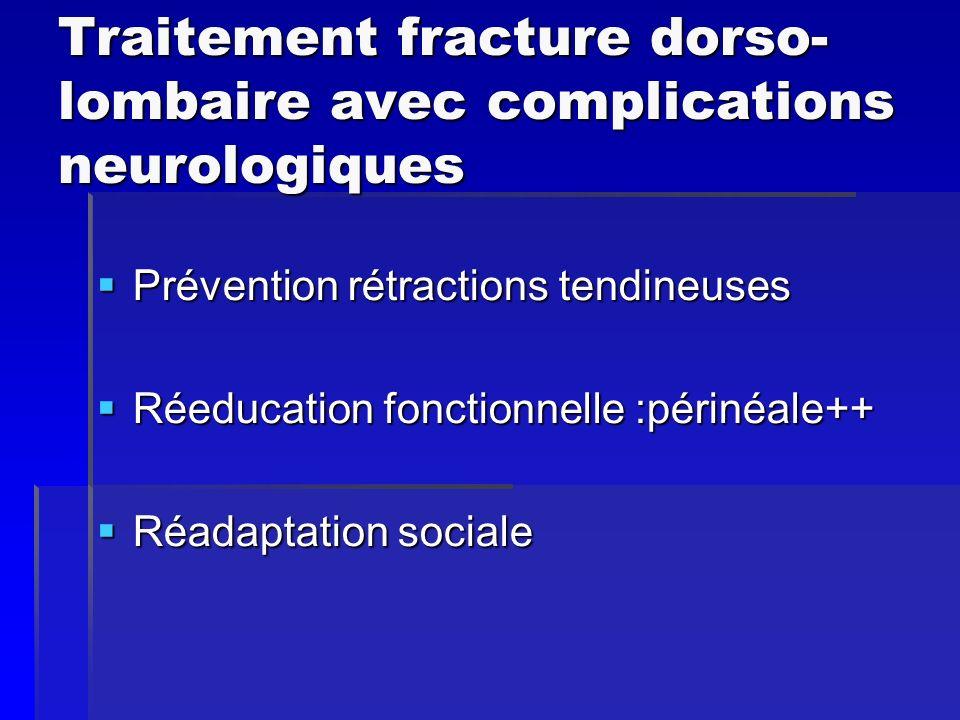 Traitement fracture dorso- lombaire avec complications neurologiques