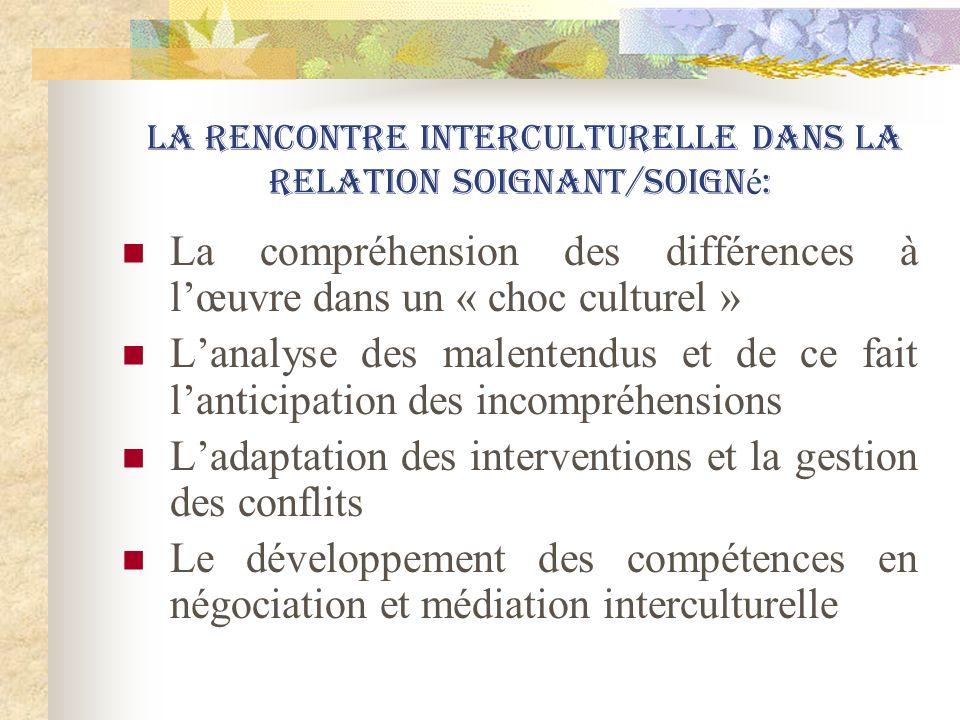 La rencontre interculturelle dans la relation soignant/soigné: