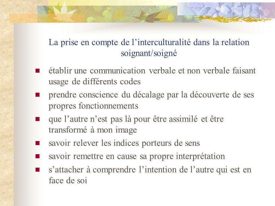 La prise en compte de l'interculturalité dans la relation soignant/soigné