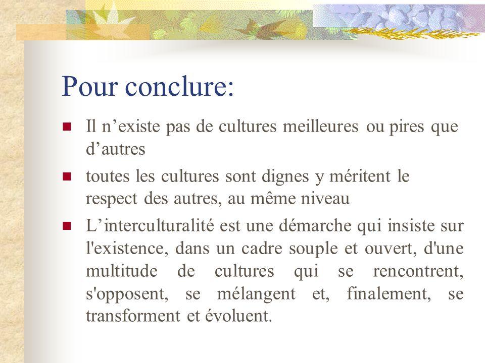 Pour conclure:Il n'existe pas de cultures meilleures ou pires que d'autres.