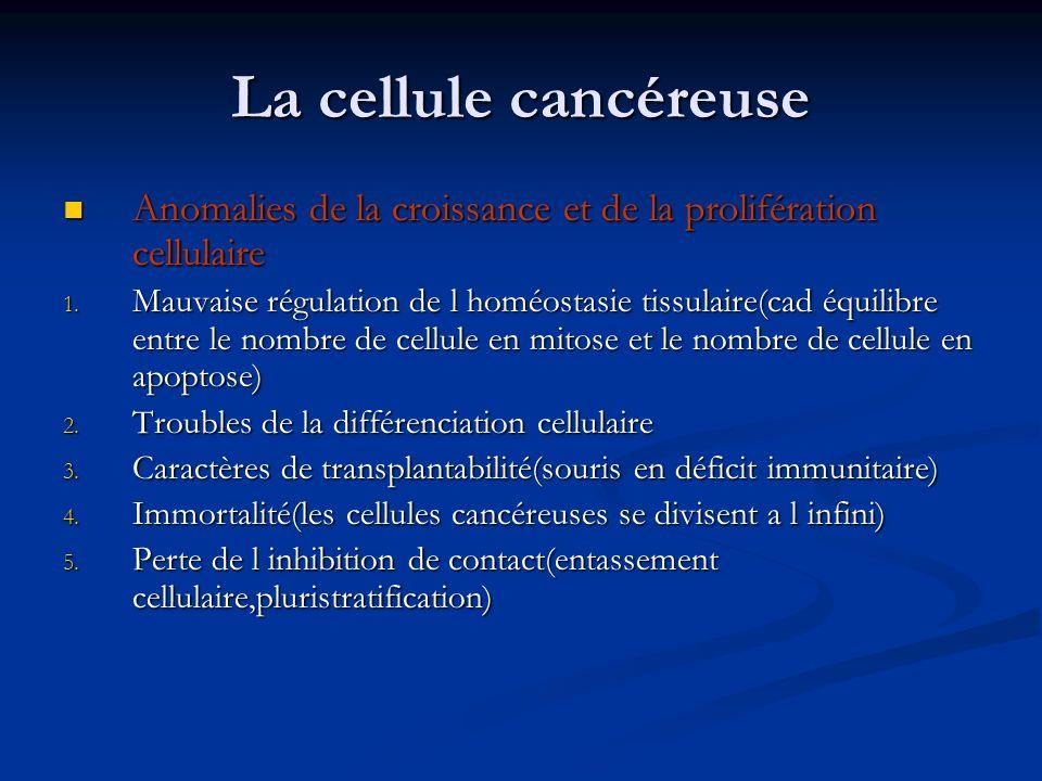 La cellule cancéreuse Anomalies de la croissance et de la prolifération cellulaire.