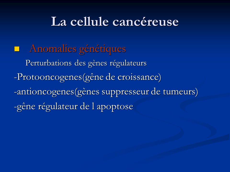 La cellule cancéreuse Anomalies génétiques