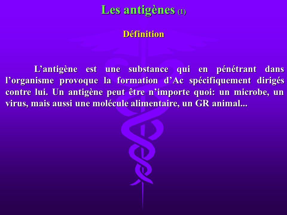 Les antigènes (1) Définition