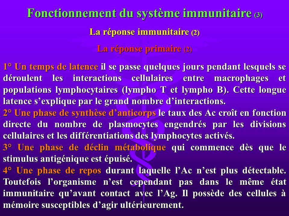 Fonctionnement du système immunitaire (3) La réponse immunitaire (2)