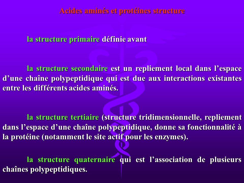 Acides aminés et protéines structure