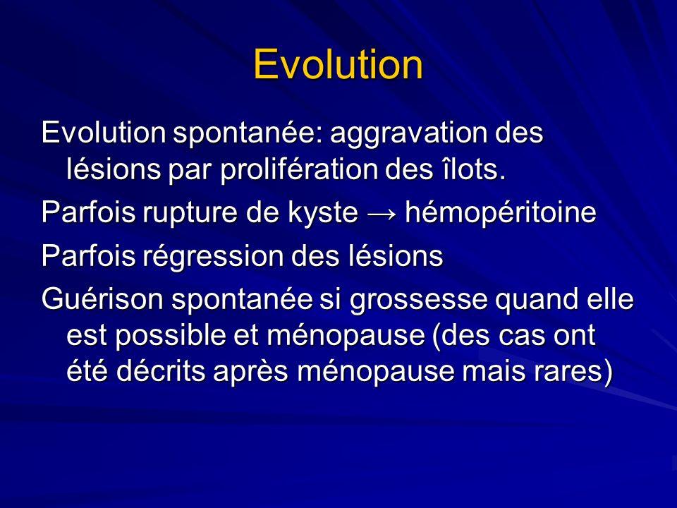 Evolution Evolution spontanée: aggravation des lésions par prolifération des îlots. Parfois rupture de kyste → hémopéritoine.