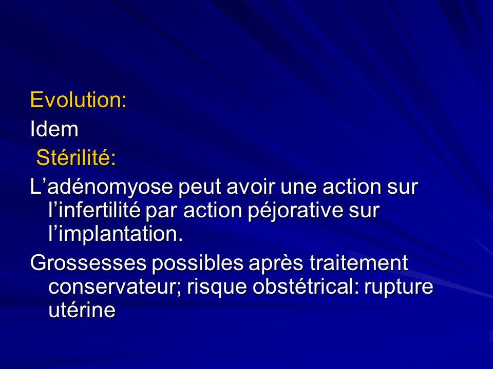 Evolution: Idem. Stérilité: L'adénomyose peut avoir une action sur l'infertilité par action péjorative sur l'implantation.