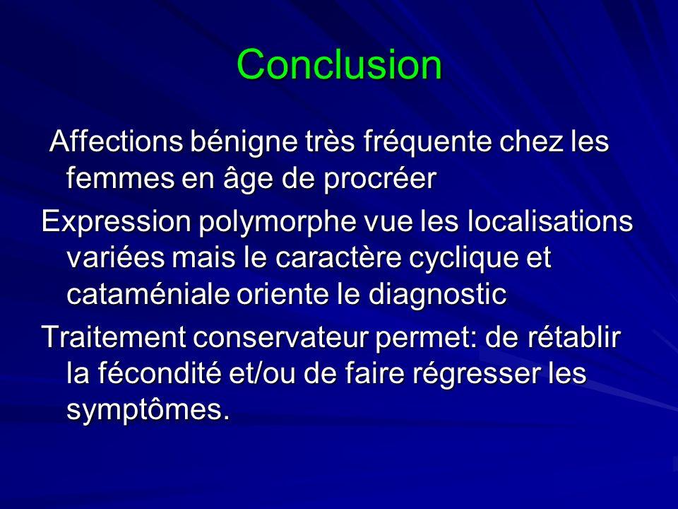 Conclusion Affections bénigne très fréquente chez les femmes en âge de procréer.